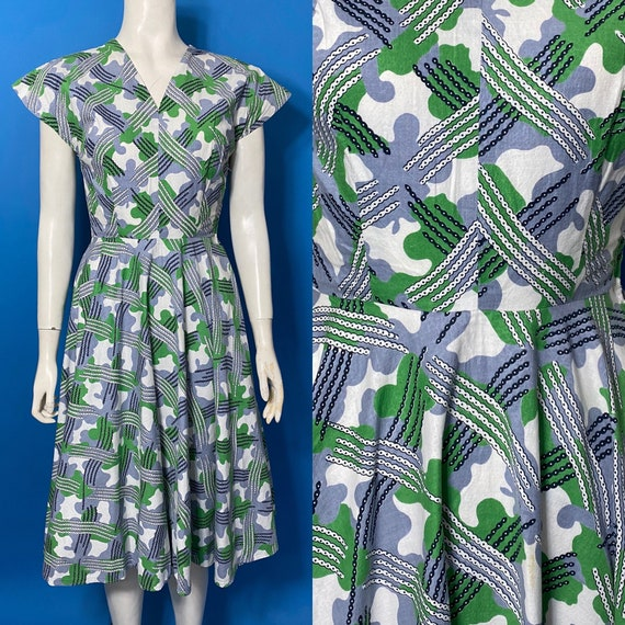 1940s summer dress, novelty print cotton