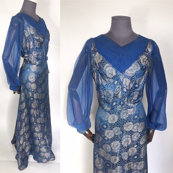 1930s lamé evening gown in blue and silver