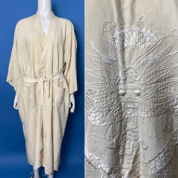 1920s kimono type robe with embroidered dragons, r