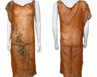 Early 30s Grecian style dress in orange and gold