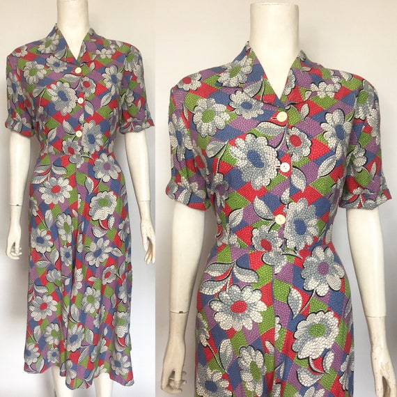 1940s dress in colourful rayon