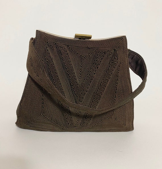 1940s corde bag, V for victory design