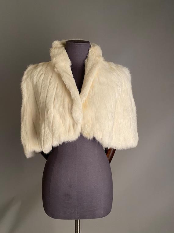 1930s white fur cape