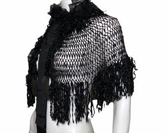 Victorian ribbon cape with french jet beads