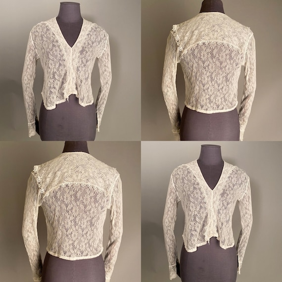 1910s lace blouse with sailor collar - image 1