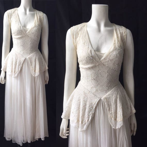 Early 1950s evening gown or wedding dress