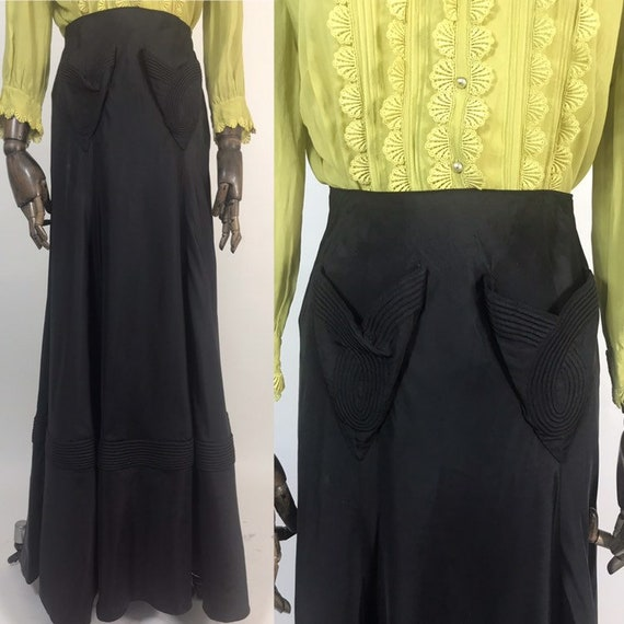 1930s evening skirt with trapunto quilting and hea
