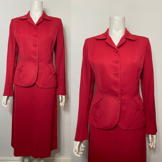 Red 1940s suit