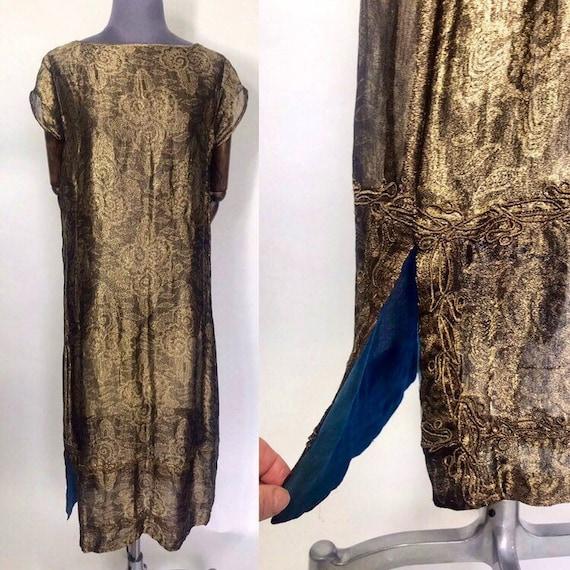 1920s lamé dress with blue silk