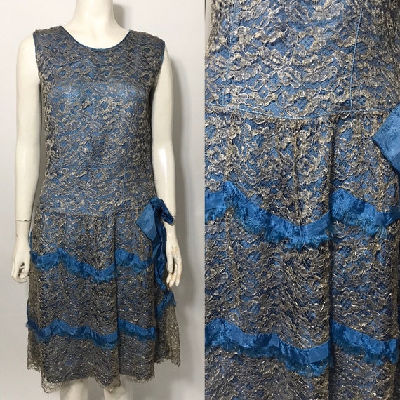 1920s flapper dress, silver lace