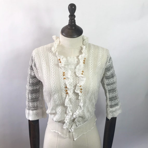 Edwardian 1910s blouse with amber glass beads