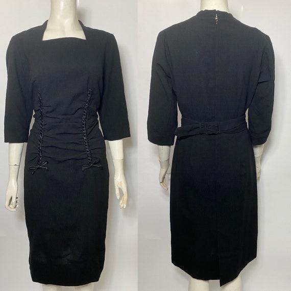 1950s wiggle dress, secretary dress
