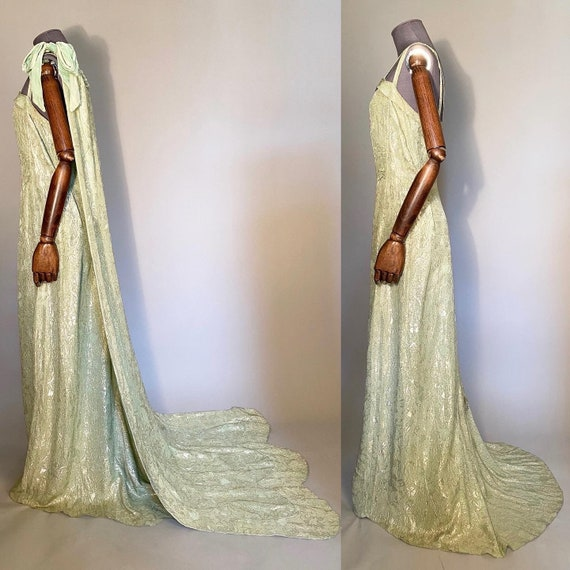 1920s lame evening gown with shoulder train