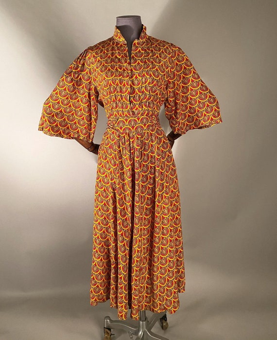 1970s Lee Bender Bus stop dress with deco print