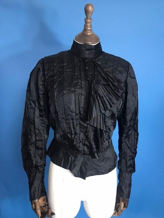 victorian blouse in black silk
