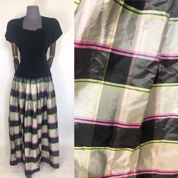 1940s evening gown with charteuse plaid skirt
