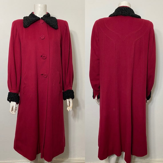 Red 1940s coat with astrakhan trim