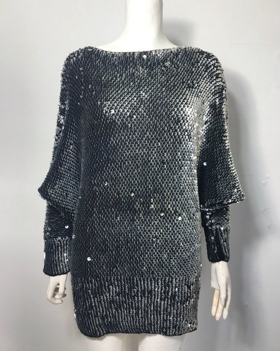1970s 1980s  batwing sleeve sweater with sequins
