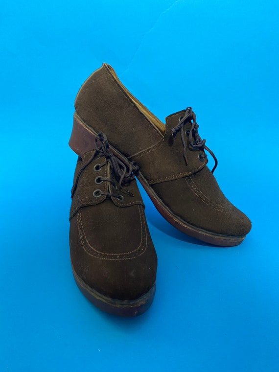 1940s shoes with wooden soles, deadstock French - image 1
