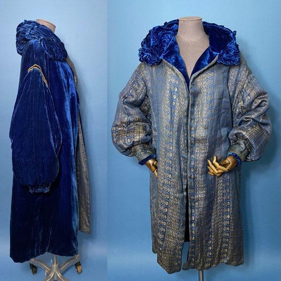 1920s opera coat, reversible lame and velvet