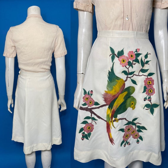 Hand painted 1940s skirt