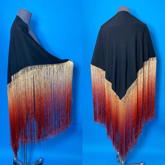 1920s piano shawl with ombre fringe