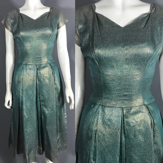 1950s lamé cocktail dress in gold and teal