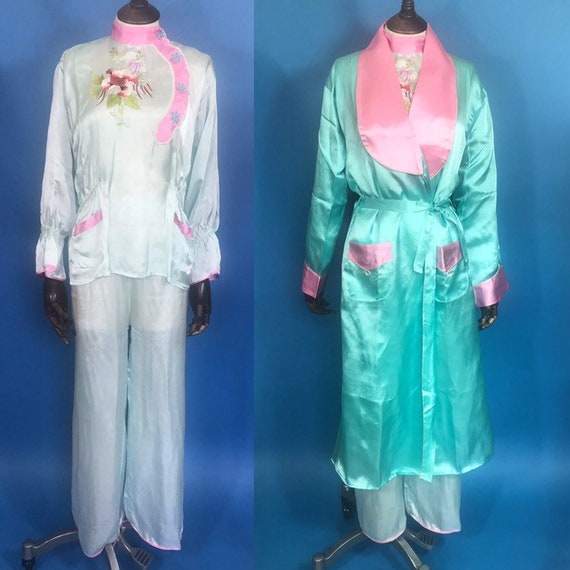 1940s lounge pyjamas with robe and slippers