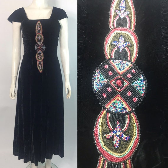 Early 1940s evening dress with 1920s beaded appliq