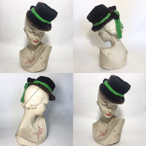 1940s tilt hat, brown velvet topper with green ve… - image 1