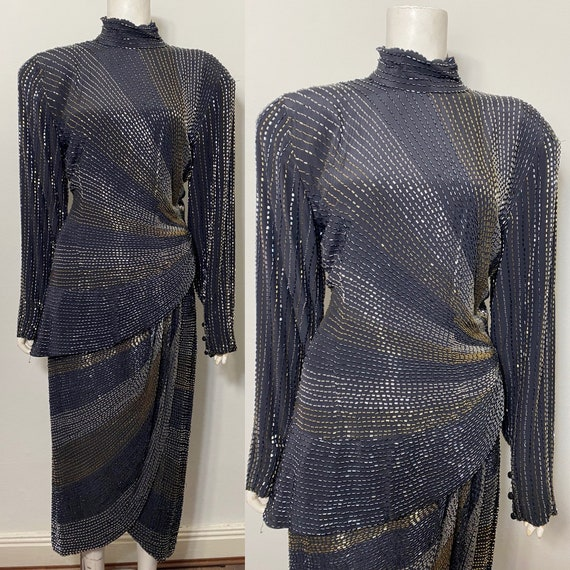 1980s does 40s beaded sarong dress