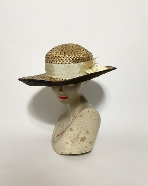 1920s straw hat - large size