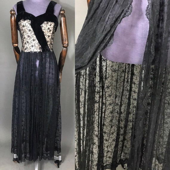 1940s lace evening gown with split skirt