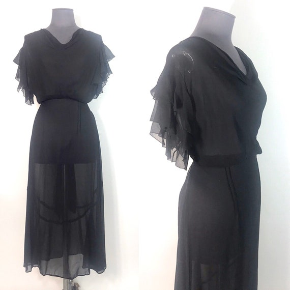 1930s chiffon dress with flutter sleeves