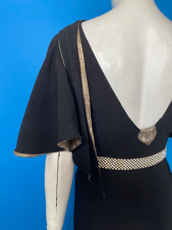 1930s silver lame and crepe evening dress