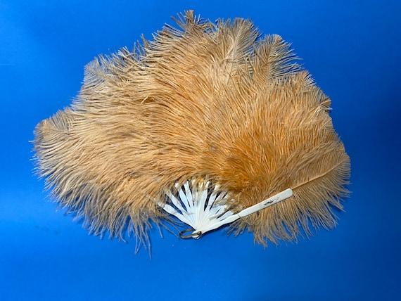 Peach 1930s ostrich feather fan