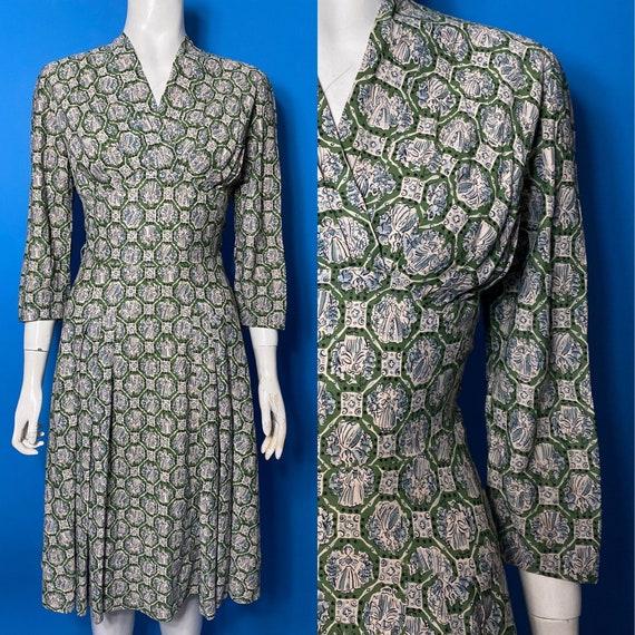 1950s novelty print dress, Eastex