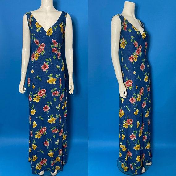 1930s Lamé  evening dress with floral print