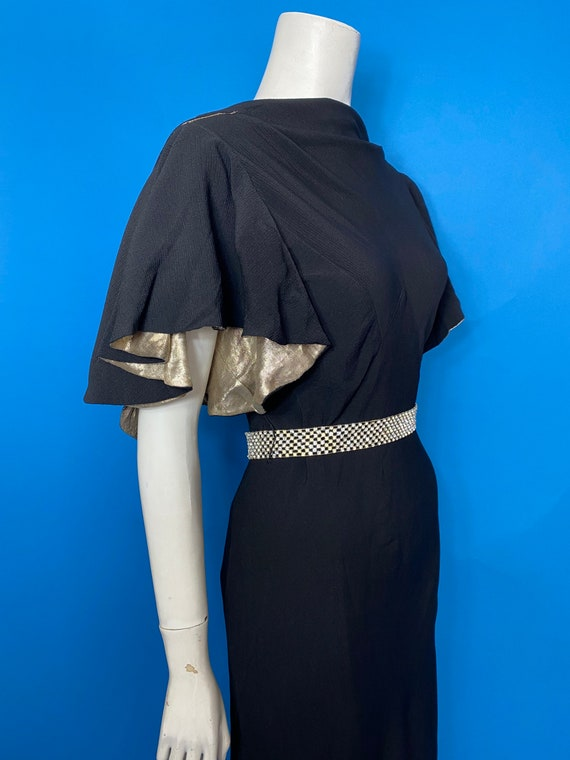 1930s silver lame and crepe evening dress - image 6