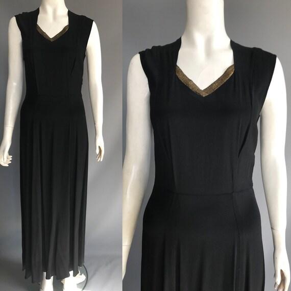 1940s evening dress with lamé trim
