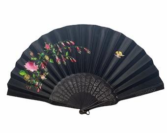 Victorian fan, hand embroidered black silk