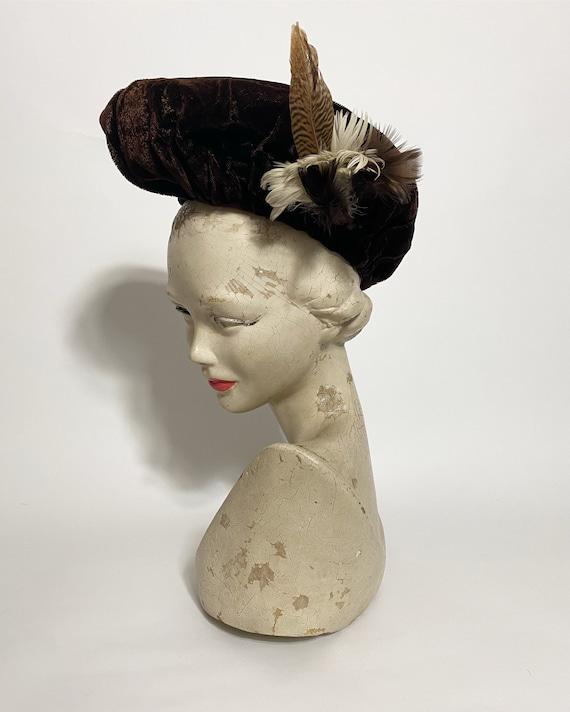 1940s halo hat in brown velvet