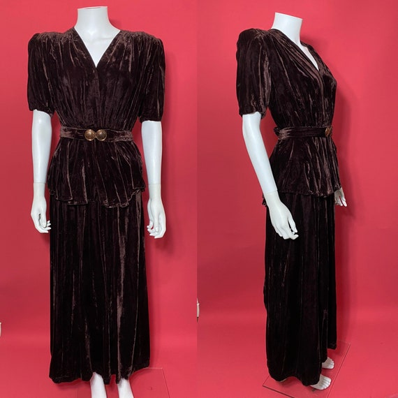 1940s peplum evening dress in brown velvet