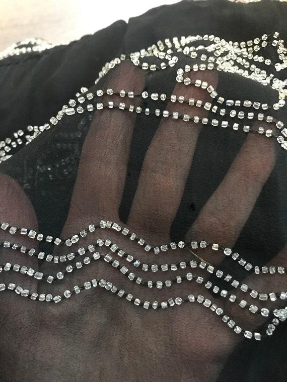 1920s beaded dress in silk chiffon, long sleeves - image 10