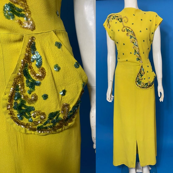 Sequinned Chartreuse 1940s evening dress