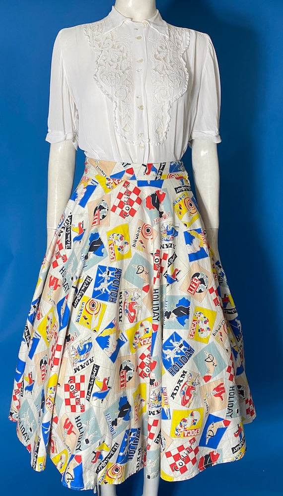 50s novelty print skirt with holiday print