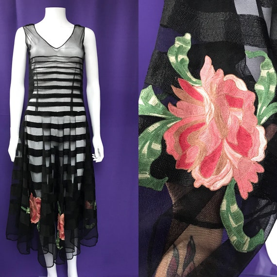 Striped 1930s dress with tambour embroidered flowe