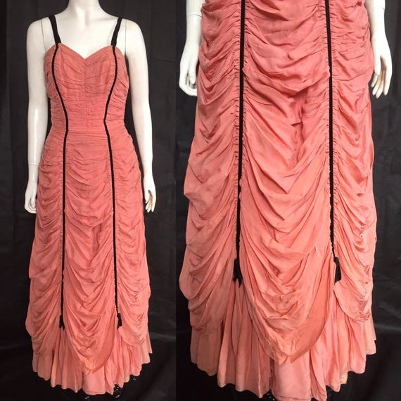1950s coral evening gown with heavy draping
