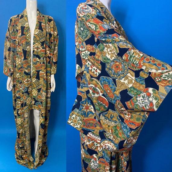 Vintage kimono with novelty print - image 1