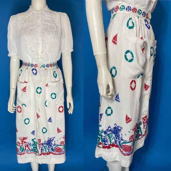 1940s novelty print skirt CC41 sportsville